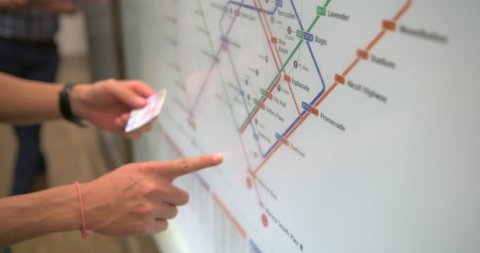 Finger Point on Singapore Metro Station Map
