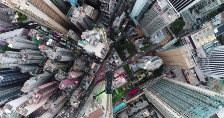 AERIAL. Animation of drone quad copter with high resolution digital camera flying over the Hong Kong city | Shutterstock HD Video #1007325757