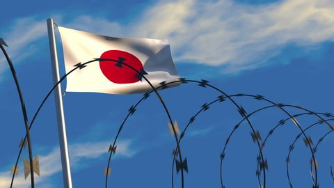 3D animation of a Japanese flag waving on a flagpole as razor wire appears in the foreground; depicting the increase of barriers between nations.