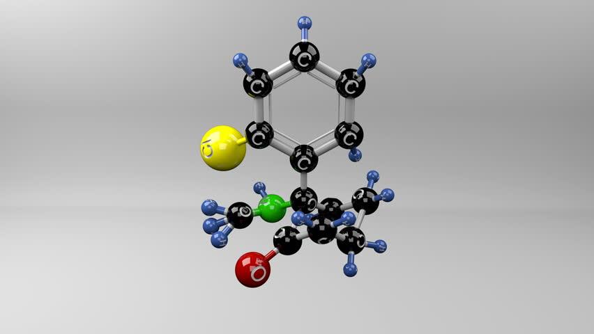 Ketamine molecule. Molecular structure of ketamine, drug. Seamless loop.