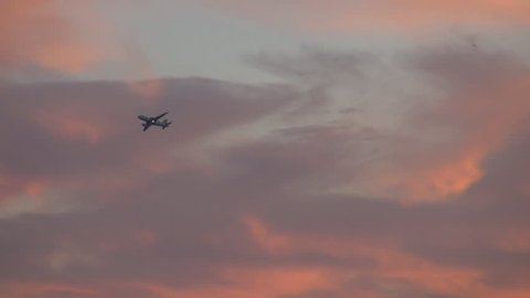 Commercial airplane fly on red sky at sunset light, continental runway