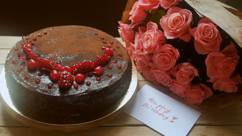 Big Chocolate Cake And Beautiful Bunch Of Pink Roses Happy Birthday Cart