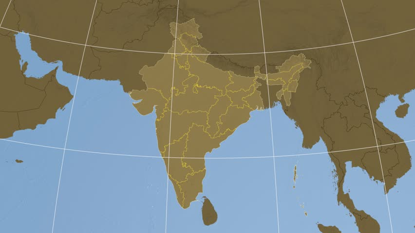 Manipur extruded on the elevation map of India with administrative borders. Elevation data on solid colors used. Elements of this image furnished by NASA.