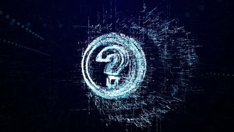 Question mark icon consisting of interactive digit and symbol. Question mark icon in digital cyber space