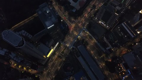Aerial footages of road intersections at Jalan Tun Razak, Kuala Lumpur from a drone at night