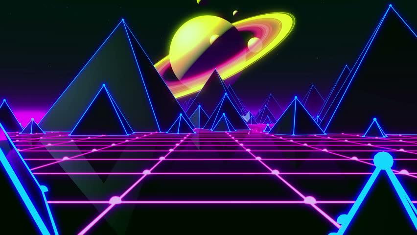 80s Retro Futurism Space Saturn (Loop) | Shutterstock HD Video #1007449627