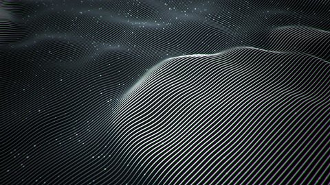 Abstract background with wavy color lines as shape globe symbol. Animation ripples  and flickering particles on surface from neon lines. Animation of seamless loop.