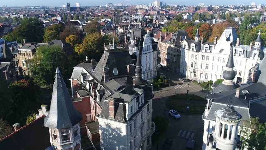Aerial footage of Cogels-Osylei neighborhood in Zurenborg area in south-east Antwerp largely developed between 1894 and 1906 that features high concentration of townhouses in Art Nouveau styles 4k