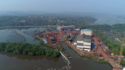 Shipyard on Zuari river in Goa, India. Shooting with drone.