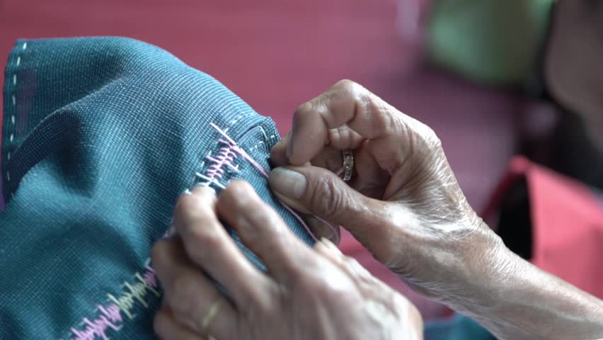 Hand sewing,Thai native fabric | Shutterstock HD Video #1007532607