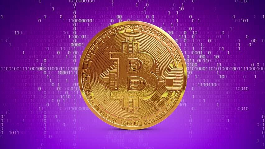 Golden Bitcoin Coin rotating Loop Digital Money Binary Numbers 3D Renderings Animations   Shutterstock HD Video #1007537605