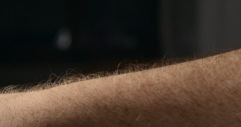 Arm hair rising slow motion, emotional feeling