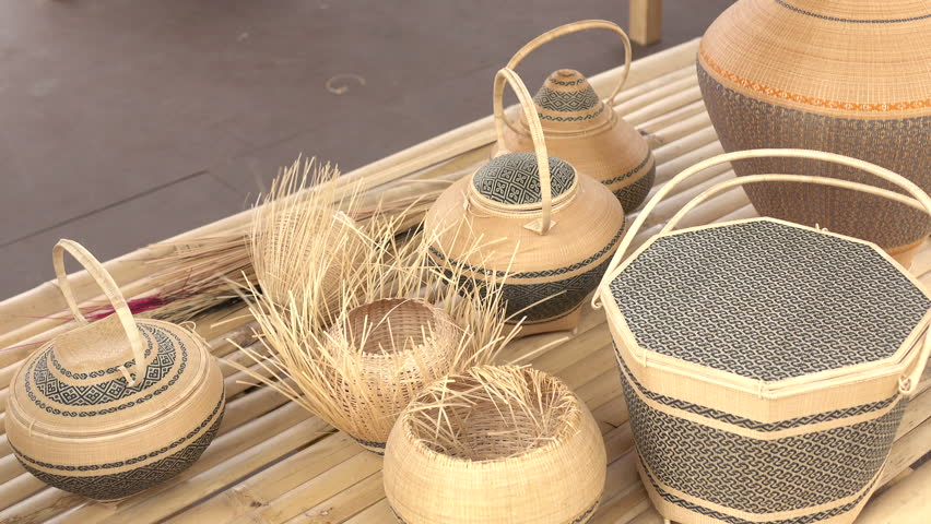 Basket made of thin wood. Thai traditional basket weaving | Shutterstock HD Video #1007555947