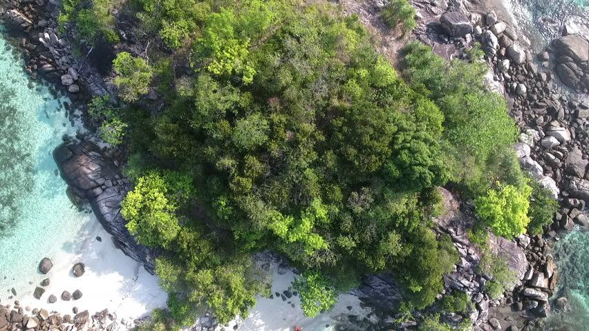 Aerial view of the kon kra, small island near sunrise beach lipe, satun,Thailand.
