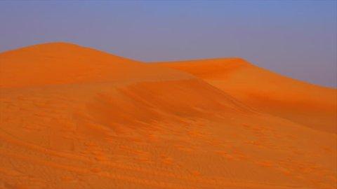 Panoramic view high sandy hills on desert dunes. Sand dunes in hot desert