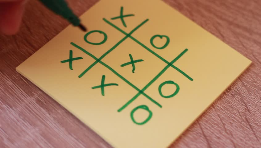 Tic tac toe game on sticker
