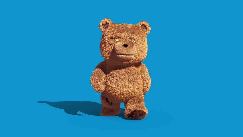 Teddy Bear Real Fur Walkcycle Front Blue Screen Loop 3D Renderings Animations | Shutterstock HD Video #1007678647