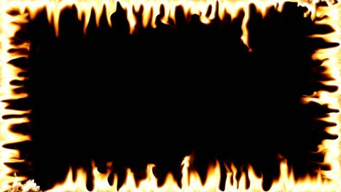 Highly detailed flame border . Realistic  Fire Border . Transparent background. PNG + Alpha . A line of real flames ignite on a black background. Real fire - Slow Motion .