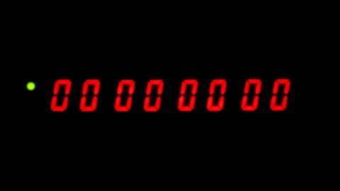 One minute of a red LCD timecode readout