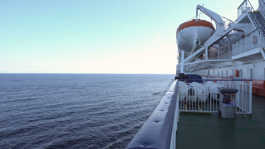 Lifeboats on upper deck of cruise liner