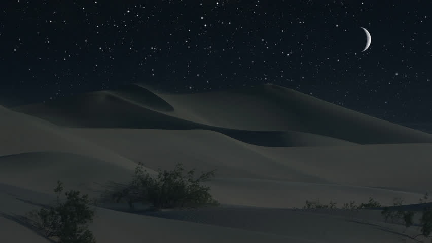 Sand dunes under a crescent moon in a desert night (Loop).