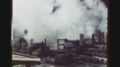 HAKONE, JAPAN, APRIL 1978. Fuji Hakone Izu National Park Hot Springs. Establishing Shot.