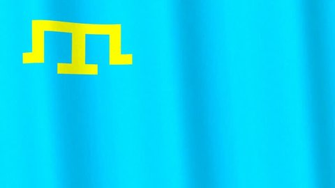Crimean Tatars flag HD 3-D rendering looping animation background with realistic texture and lighting