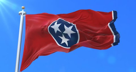 Flag of american state of Tennessee, region of the United States, waving at wind - loop