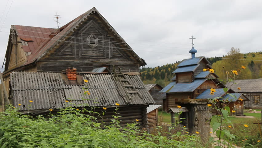 Russian orthodoxy church complex with wooden churche 19th century. Northern wooden architecture. Vepsian region, capital of Veps (Finno-Ugric tribes) village of Vinnitsa. Russia