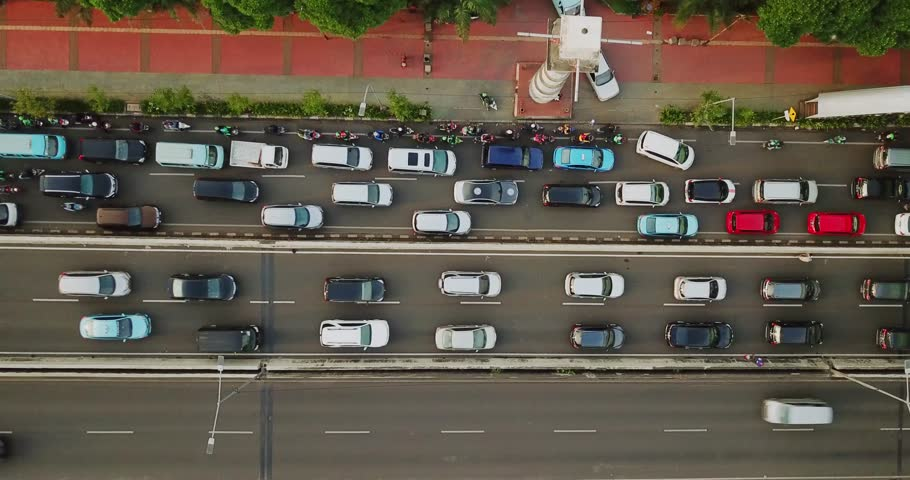 JAKARTA - Indonesia. February 23, 2018: Bird view of overpass road with crowded cars on rush hour in Jakarta central business district.  | Shutterstock HD Video #1007905867
