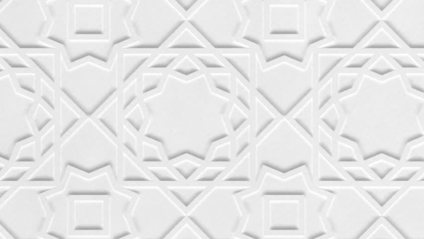 Rotating white arabic pattern, arabesque. Close-up of white abstract geometric background. Ramadan graphic animation, slow motion.