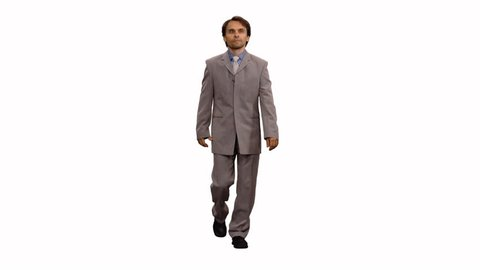 Front view of walking male changes clothes according to the seasons, Full HD looped footage with alpha channel