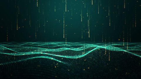 Abstract background with waving dotted surface, moving and flickering particles, lines and stripes. Animation of seamless loop.
