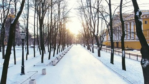Aerial Video shooting of the winter avenue in the park Aleksandrovsky at sunset, in Russia, Saint-Petersburg, at the left is seen the Isaakiyevsky cathedral, on the right the building of Admiralty