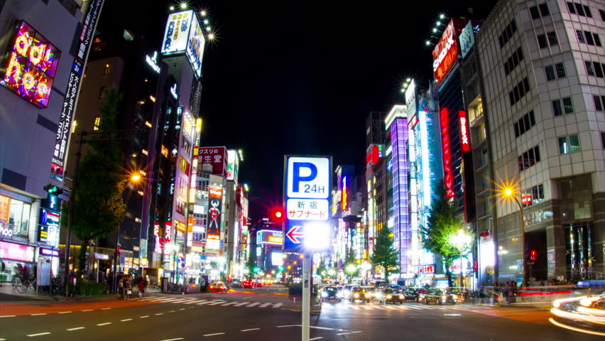 Shinjuku-ku Ginza Tokyo / Japan - 11.11.2017 : Its a city location in Tokyo. 4K & time lapse. camera : Canon EOS 7D