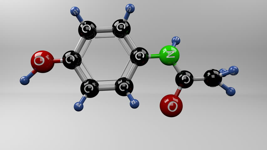 Acetaminophen molecule. Molecular structure of paracetamol pain reliever.