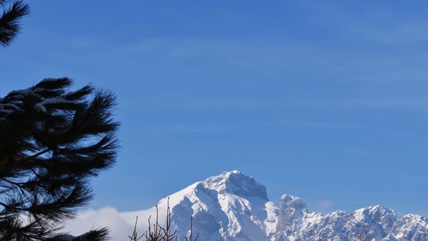 North Italy (Europe), Lombardy region : mount Presolana in timelapse.