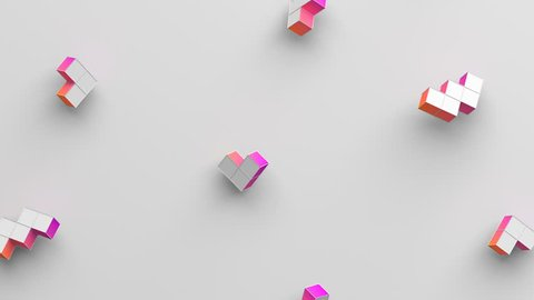 Abstract 3d rendering of geometric shapes. Computer generated loop animation. Modern background with simple forms. Seamless motion design for poster, cover, branding, banner, placard. 4k UHD