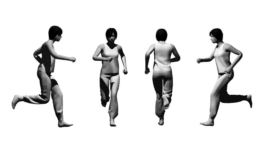 running woman on the white background from different sides