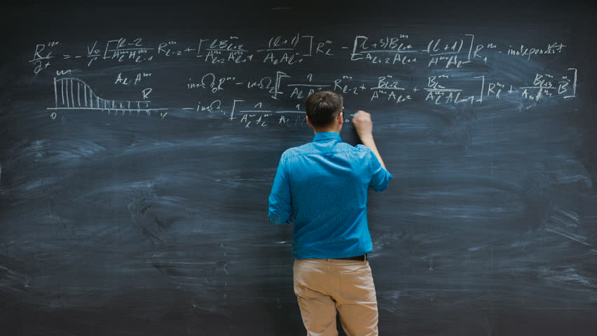 Time-Lapse of the Brilliant Young Mathematician Writes Complex Equation on the Blackboard. Shot on RED EPIC-W 8K Helium Cinema Camera.