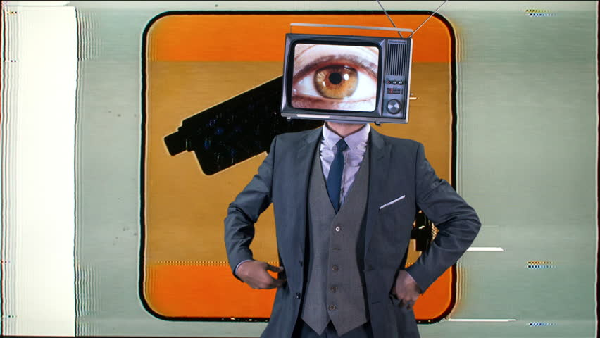 Mr tv headcool man in a suit dancing with a television as a head. the tv is has changing eyes playing on the screen | Shutterstock HD Video #1008089107