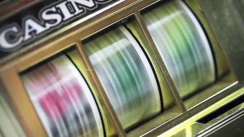 retro slot machine at an angel spinning to win seamless loop