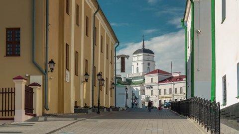 summer day minsk city old town street walk 4k timelapse minsk belarus