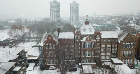 Orbiting drone footage of a victorian manor house in Battersea, South West London, England during a rare snow storm in March, 2018.