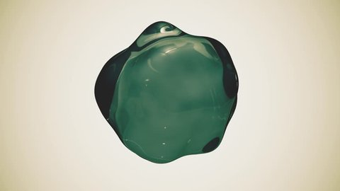 green water drop liquid molecule floating in zero gravity. the sphere from the liquid lies and deforms into zero gravity. loopable ultra hd 3840 2160 animation plus alpha channel