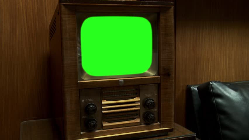 Old Wooden Tv with Green Screen, Ready to replace green screen with any footage or picture you want. Zoom Out.  | Shutterstock HD Video #1008138997