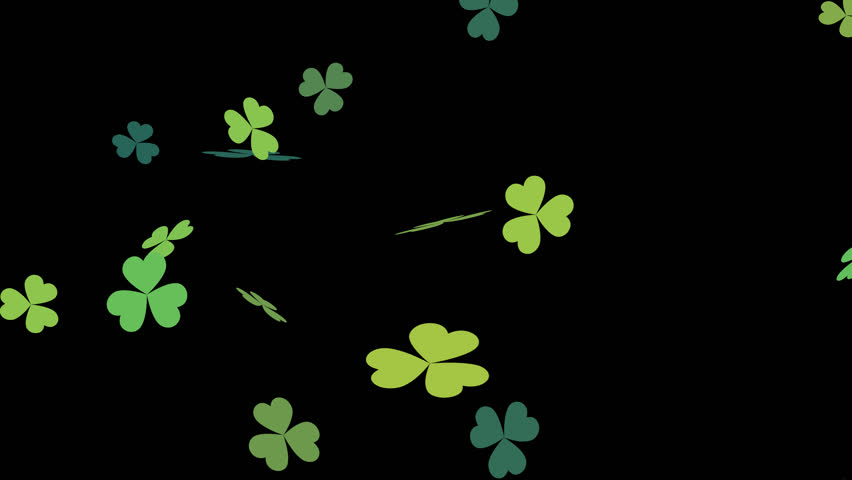 Clover leafs falling with alpha, St. Patrick's day, looped.