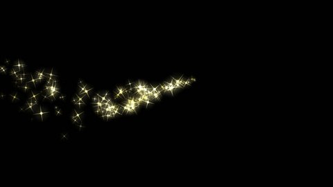 Sparkling Trail - Hot Golden Stars - Glittering particle effect animation with alpha channel on transparent background for attractive holiday or event transition, revealer, logo and title decoration.