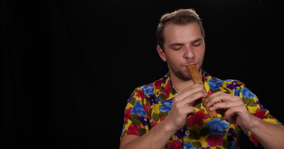 Flutist Man Singing Traditional Instrument Playing Recorder Flute Popular Music