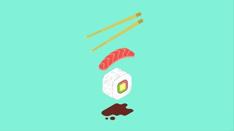 Cartoon sushi roll and chopsticks. 2d animation in isometric style. Traditional food concept, takeaway service